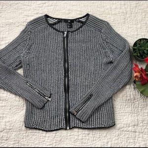 H&M black and white Zip up cardigan